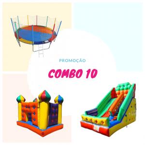 Combo 10: Cama Elástica de 4 metros + Balão Pula Pula Castelinho Inflável + Tobogã Médio 4,5 metros