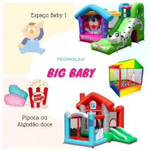 Big Baby : Espaço Kids Baby 1 + Pula Pula com Tobogã Dálmatas + Piscina de Bolinhas 1,5 metros + Pula Pula Com Escorregador Casa Feliz + Pipoca ou Algodão Doce